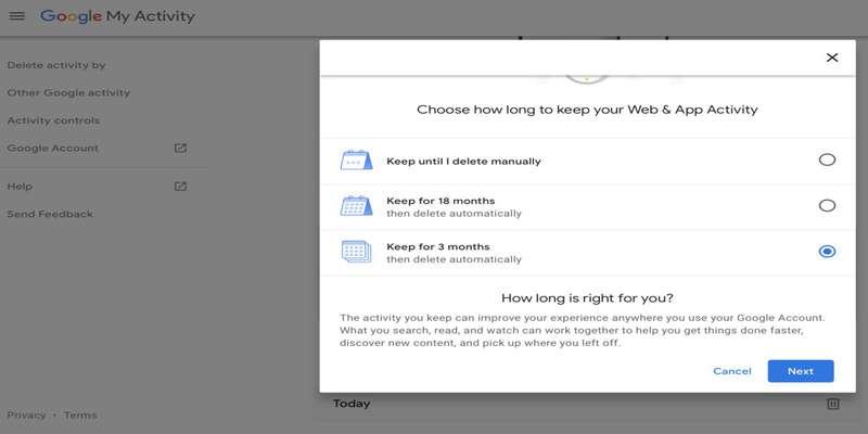 آموزش حذف خودکار سوابق جستوجو و مکانها از اکانت گوگل