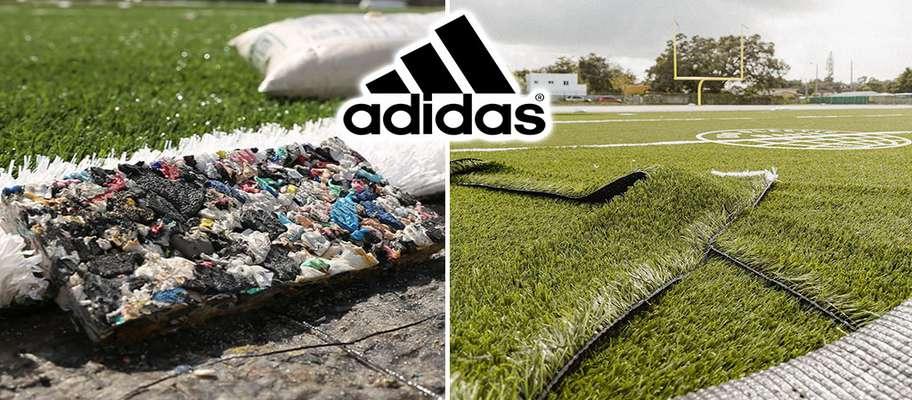 شرکت آدیداس زمین چمن مصنوعی فوتبال پایدار با بطری های پلاستیکی بازیافتی ساخت