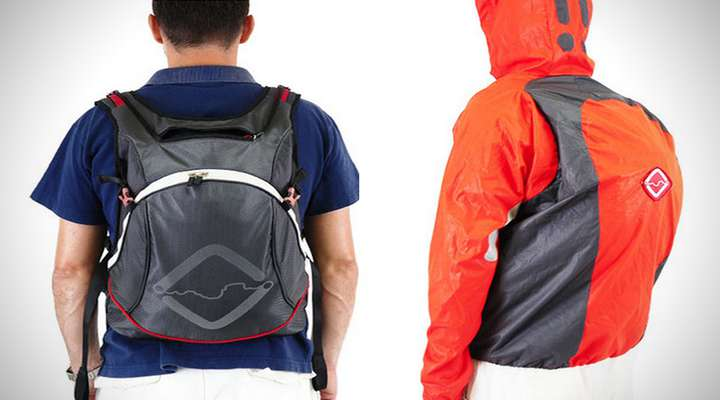 کوله پشتی ترکیبی و کت ضد آب آن برای کوهنوردان