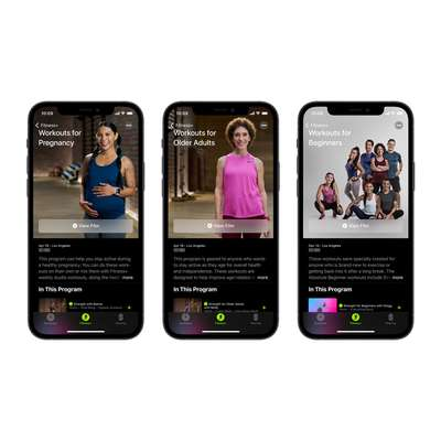 +Apple Fitness با تمرینات جدید برای زنان باردار، میانسالان، مربیان، راههای بیشتری برای استقبال و فراگیر کردن تناسب اندام و فیتنس معرفی می کند.