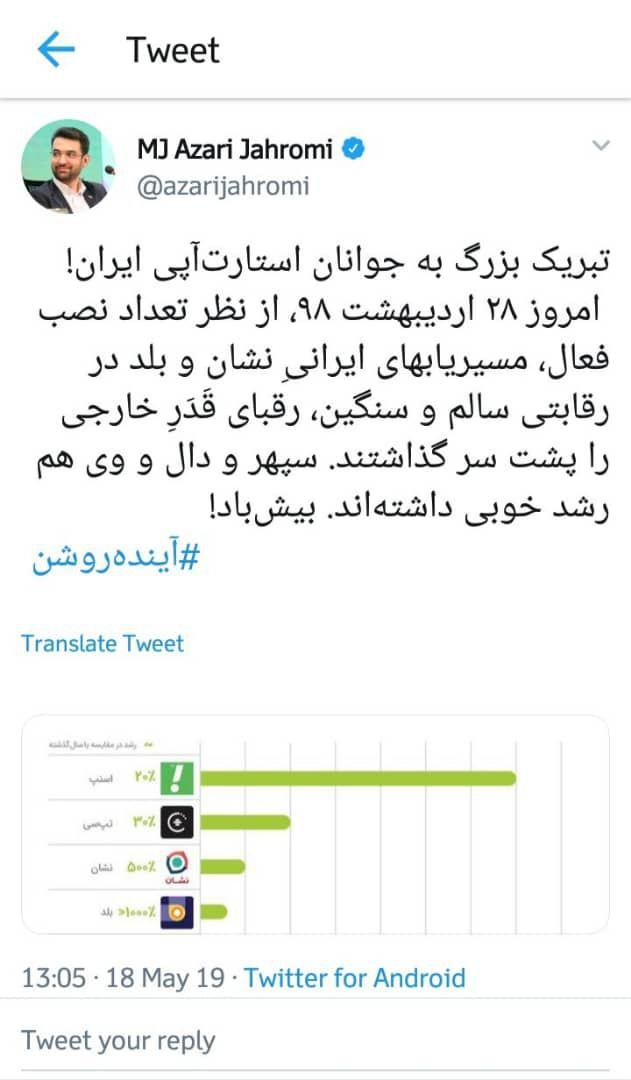 تبریک وزیر ارتباطات به استارتاپهای مسیریاب ایرانی